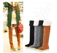 Leather best over the knee boots - New Women s Shoes Over The Knee High Boots Suede Flat Boots Best Christmas Gifts GRS