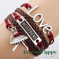 Charm Bracelets leather cord braided - infinity bracelets Antique Silver Charm Love Best Friend Dance Girl Braided Brown cord Leather Mixed Bracelet Wristbands jewelry hy1040