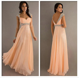 Wholesale 2014 Style Cheap A Line Chiffon Sweetheart Cap Sleeves Glitter Crystal and Pleated Floor Length Evening Dresses Prom Dresses PD05