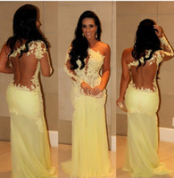Wholesale 2016 lace yellow Prom Dresses One Shoulder Long Sleeves Lace Chiffon Sexy Prom Evening Dresses sheer neck party gowns prom dresses