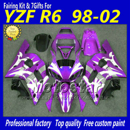 Custom purple white black motorcycle parts for YAMAHA fairing YZFR6 1998 1999 2000 2001 2002 YZFR6 98-02 YZF R6 fairings kit