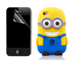 Wholesale Lovely in1 Minions Case With Clear Film For iphone th Hot D Minions Despicable ME Soft Silicone Case Back Cover Case