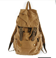 Wholesale 2013 Men s Vintage Canvas Leather Hiking Travel Military Backpack Messenger Bag