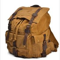 venda por atacado military canvas bag-Men's Vintage Canvas Mochila de couro Rucksack Satchel Militar Sport saco B104