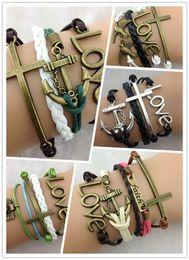 Mixed items anchor bracelets fashion love cross Charm infinity bracelet Leather Mixed Wristbands Xmas Gift jewelry 5pcs item 25pcs lot