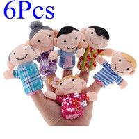 Unisex 0-12 Months Gray 6pcs lot Family Finger Puppets Cloth Toy Baby Stories Helper Doll 6 design Christmas Toy Brand-new for Wholesale Freeshipping