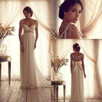 bella wedding dress - New Arrival A Line Spaghetti Straps Wedding Dress Low Back Sweep Train Chiffon Wedding Gowns Beads Sequins Crystal Bella