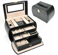 Wholesale earrings Ring amp necklaces amp pendants watch Gift Jewelry Boxes Cases Display Leather gift box28 x16x19cm
