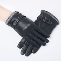 Wholesale Winter genuine Leather Gloves Fur Cape Glove Women Bike MotorCycling dropshipping