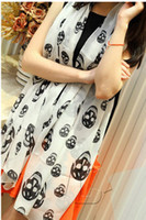Wholesale Winter new arrival super big diamond skull printed chiffon silk scarf