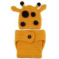Boy Summer Newborn Hat Hot SALE Crochet Baby Giraffe Hat Earflap hat Baby Newborn Crochet Hat free shipping include diaper cover