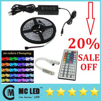 Holiday SMD 5050 Yes Waterproof 5050 RGB 5M 300 Leds Flexible Led Strips Light 12V + New Arrival Remote Controller + 12V 5A Power Supply With EU AU US SW UK Plug