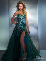 Wholesale New Hot Sweetheart Peacock Split Tulle Prom Dresses with Rhinestones and Zip Back Evening Dress