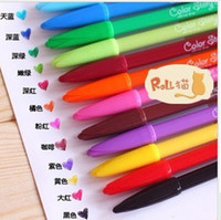 Wholesale 2015 explosion models Korean Stationery color microfiber highlighter watercolor pen gel pen prizes