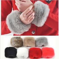 Wholesale MIX order autumn and winter warm fur cuff gloves imitation rabbit fur gloves