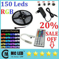 Wholesale 5050 SMD Ft M Leds RGB Waterproof Led Light Strips V Keys IR Remote Controller V A Power Supply With EU AU UK US Plug