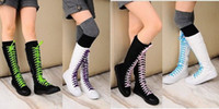 Wholesale Canvas Sneakers Ladies Flat Tall Punk Womens Skate Shoes Lace Up Knee High Boots