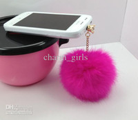 Wholesale mm Rabbit fur ball Crystal pendant phone dustproof plug earphone dust plug