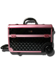 Wholesale Black Rolling Professional Makeup Case Lockable Aluminum Wheeled Box brazilian hair u6 LS