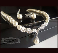 Wholesale Silver Plated Rhinestone Crystal and Ivory Pearl Bridal Wedding Necklace and Earrings Jewelry Set