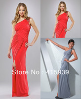 Wholesale Simple Designer Fabulous Sleeveless One Shoulder Split Chiffon Prom Formal Evening Party Dress Gown WL072