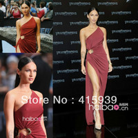 Reference Images A-Line Sleeveless Megan Fox new arrival sexy one shoulder side high slit long chifon celebrity dress MX026