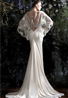 Wholesale New Arrival Sexy Galia Lahav Beading Pearls Lace Cape Backless Vintage Wedding Dresses White Ivory Cheap Mermaid Garden Bridal Gowns