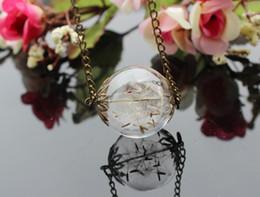 Wholesale 15pcs MM Real Flower Dandelion Seed Necklace Dandelion Necklace Make A Wish Glass Bead Orb Transparent Round Beadwork Specimen necklace