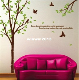 Wholesale Large Love Tree Birds Green Color cm Home Removable Wall Sticker Factory Amazon Free Drop shipping