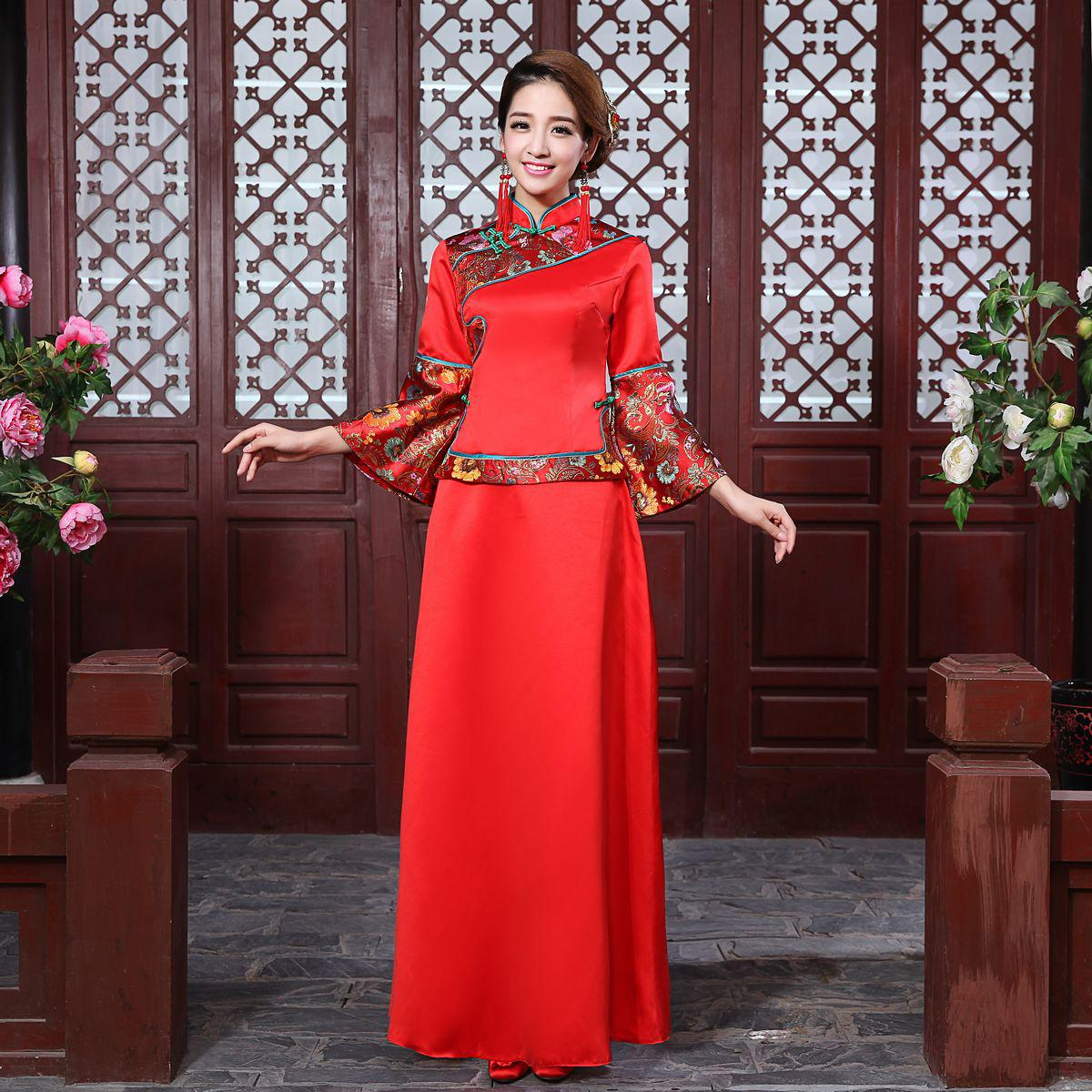 2017 vintage chinese style wedding dress show clothing for Chinese style wedding dress