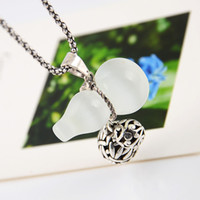 Pendant Necklaces balls gourd - Fashion HotNew Products XL0121 Ruyi necklace opal silver gourd pattern ball necklace sweater chain