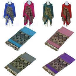 Wholesale Retro Women Lady Cashmere Shawl Muffler Unique Floral Paisley Tassels Tippet Multifunction Long Wraps Pashmina Scarves DJQ