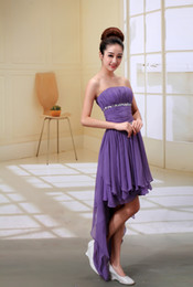 Wholesale Fashion Homecoming Dresses Strapless Hi lLo Purple Chiffon Beads Crystal Cocktail Dresses Zipper Backless Party Gowns