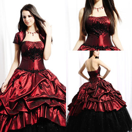 Hot Cheap With Jacket Quinceanera Dresses Ball Gowns Strapless Burgundy Satin Appliques Beads Pick-ups Sweep- Train Buy 1 Get 1 Free Crown