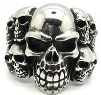 band guarantee - Factory Price L Stainless Steel Mens Demon Skulls PUNK Ring New Arrival Guarantee