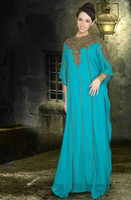 Reference Images Crew Chiffon Wholesale - New Arrival 2014 Cheap Jewel Arabic Dubai ABAYA KAFTAN Green Long Sleeve With Beaded Evening Dresses Gown Prom Dress