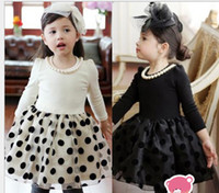Wholesale 32483 Girls Dresses Hepburn Noble temperament Fall winter Dot Fleece Baby girl Dress With Pearls Necklace children clothes kids dress gxszsz