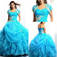Model Pictures Strapless Organza Fashion New 2014 Quinceanera Dresses Light Blue Strapless Appliques Pleats With Short Sleeves Jacket Lace Up Prom Ball Gown Dress