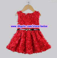 Wholesale Big Discount Kids Christmas Dresses Girls Red Rose Dress With Belt Baby New Year Flower Cotton amp Polyester Tutu Dress Children Dress Skirt