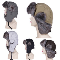Wholesale Women Men Warm Winter Cotton Canvas Faux Fur Trapper Hat Calefactive Cozy Earmuffs Russian Aviator Bomber Ski Hat Caps DKB