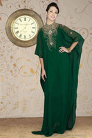 Reference Images Crew Chiffon New Arrival 2014 Cheap High Collar Arabic Dubai ABAYA KAFTAN Green Long Sleeve With Beaded Evening Dresses Gown Prom Dress