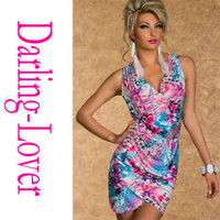 Wholesale New Exclusive Blue Green Cheap Spandex Dress Print Babydoll Lingerie Low Cut Hot Sale With G string