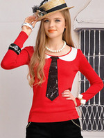 Wholesale British Style Red Necktie Patterned Sequined Jewel Neck Cotton Sweater For Girls sexy lingerie u12 u0
