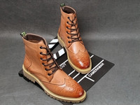 Wholesale NWT Men s Winter Martin Boots British FAshion Brogue Carving Cotton Cowhide Short Boots For Men