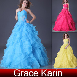 Wholesale Grace Karin Sexy Sweetheart Strapless Lace Up Ball Gown Prom Dresses Grand Ruffle Quinceanera Dress CL3411