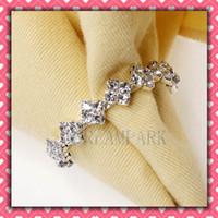 metal ECO Friendly  Square Metal & Rhinestone Napkin Rings Hotel Wedding Supplies Free Shipping