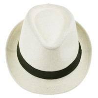 Wholesale Unisex Panama Straw Hat Men Fedora Chic Summer Stingy Brim Cap Fit Beach Travel ZDS6