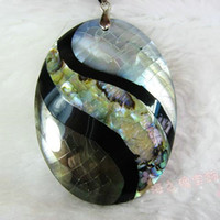 Pendant Necklaces Bohemian Mother of pearl Natural shell pendant necklace oval shell white black and yellow big Abalone S-shaped pendant genuine , rare !