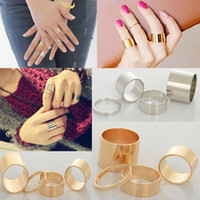 Wholesale Hot Sale set Shiny Punk Polish Gold Silver Stack Plain Band Midi Mid Finger Knuckle Ring Set Rock JR15075