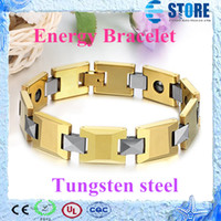 Wholesale Energy Magnetic Bracelet with Gold Tungsten Steel Body wu